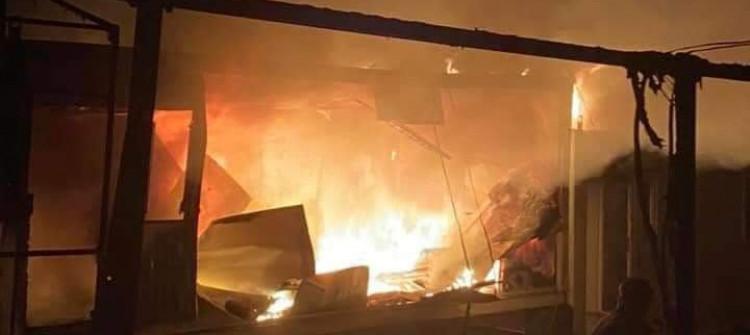 Göçmen kampında yangın: 10 çadır kül oldu