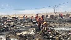 منكوبو مخيم شاريا <br>يستبدلون الخيم بمنازل تُبنى بالطابوق الاسمنتي