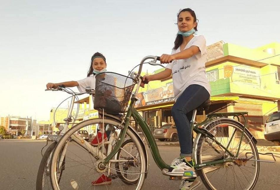 Kerküklü kadınlardan bisiklet sürme etkinliği