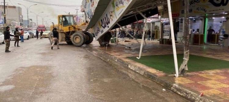 رفع التجاوزات في الموصل<br> المتجاوزون يعترضون والسكان يرحبون بالحملة