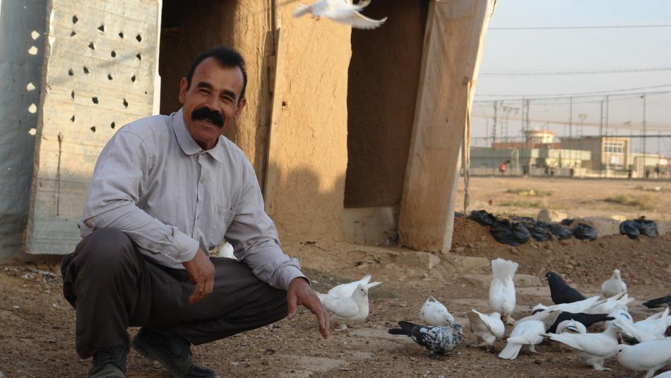 Mülteci olduğu zaman bile güvercinlerini terk etmedi