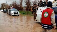 قطعت طريق تلعفر _ الموصل.. <br> الفيضانات تجبر 175 عائلة على ترك منازلها في نواحي تلعفر